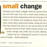 "Vegetarian Times: ""Small Change,"" April 2001"